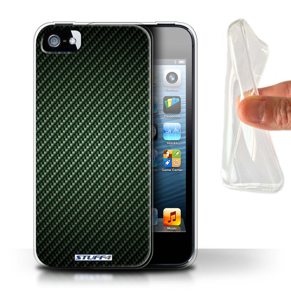 Protective Gel/TPU Case for Apple iPhone 5/5S / Carbon Fibre Effect/Pattern Collection / Green