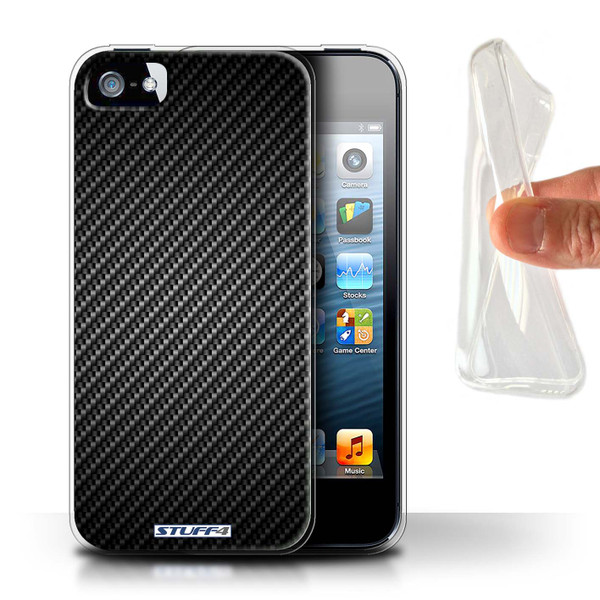 Protective Gel/TPU Case for Apple iPhone 5/5S / Carbon Fibre Effect/Pattern Collection / Grey