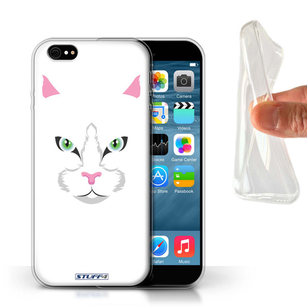 Protective Gel/TPU Case for Apple iPhone 6/6S / Animal Faces Collection / White Cat