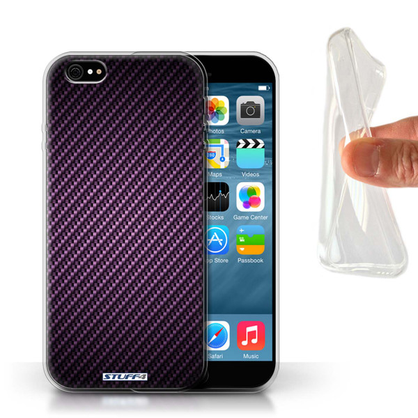 Protective Gel/TPU Case for Apple iPhone 6/6S / Carbon Fibre Effect/Pattern Collection / Purple