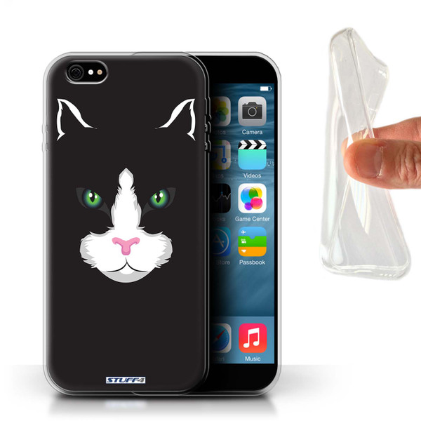 Protective Gel/TPU Case for iPhone 6+/Plus 5.5 / Animal Faces Collection / Black Cat