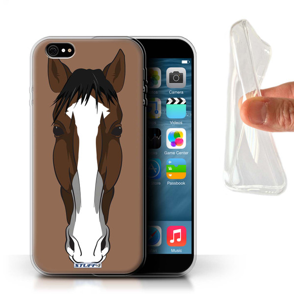Protective Gel/TPU Case for iPhone 6+/Plus 5.5 / Animal Faces Collection / Horse