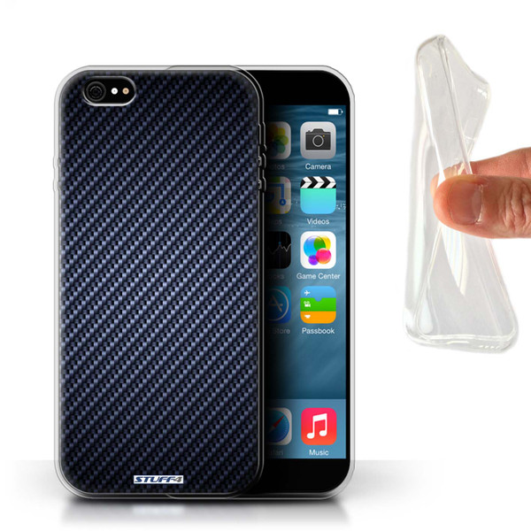 Protective Gel/TPU Case for iPhone 6+/Plus 5.5 / Carbon Fibre Effect/Pattern Collection / Blue