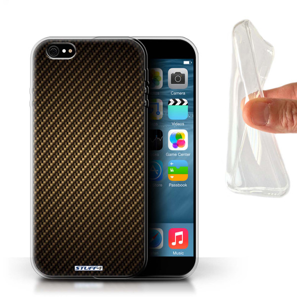 Protective Gel/TPU Case for iPhone 6+/Plus 5.5 / Carbon Fibre Effect/Pattern Collection / Gold