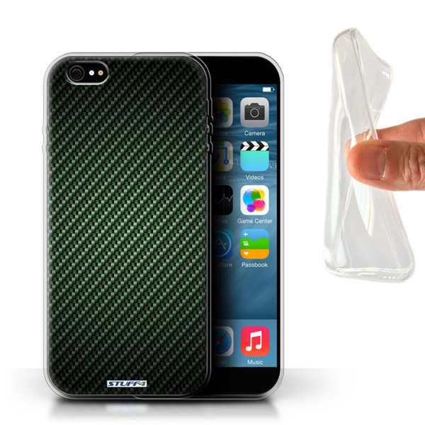 Protective Gel/TPU Case for iPhone 6+/Plus 5.5 / Carbon Fibre Effect/Pattern Collection / Green