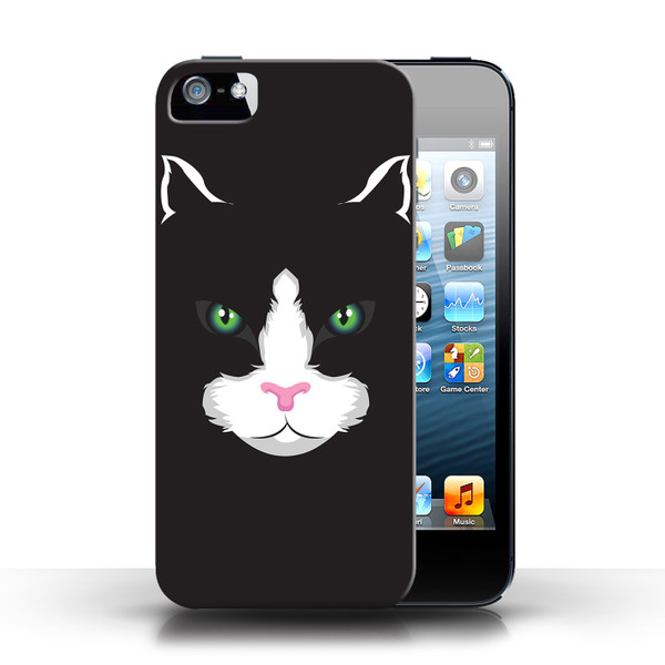 Protective Hard Back Case for Apple iPhone 5/5S / Animal Faces Collection / Black Cat