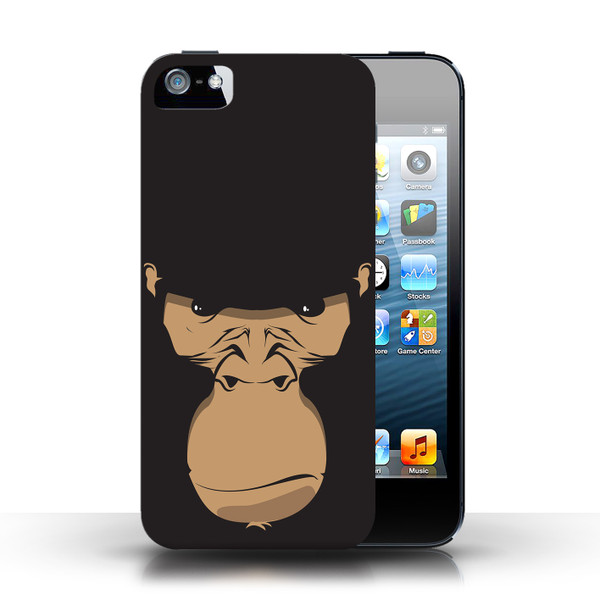 Protective Hard Back Case for Apple iPhone 5/5S / Animal Faces Collection / Gorilla/Chimp/Monkey