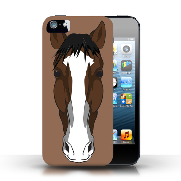 Protective Hard Back Case for Apple iPhone 5/5S / Animal Faces Collection / Horse