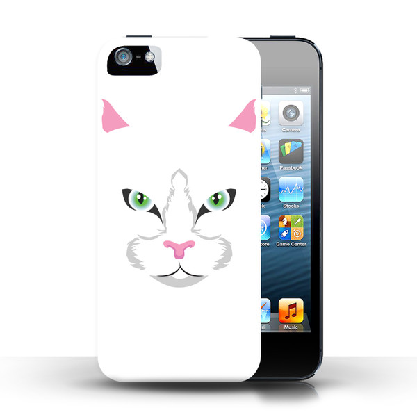 Protective Hard Back Case for Apple iPhone 5/5S / Animal Faces Collection / White Cat