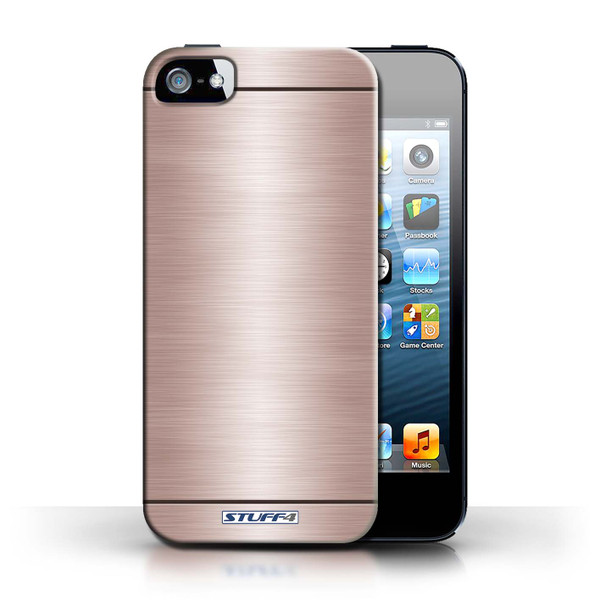 Protective Hard Back Case for Apple iPhone 5/5S / Brushed Metal Effect/Pattern Collection / Copper