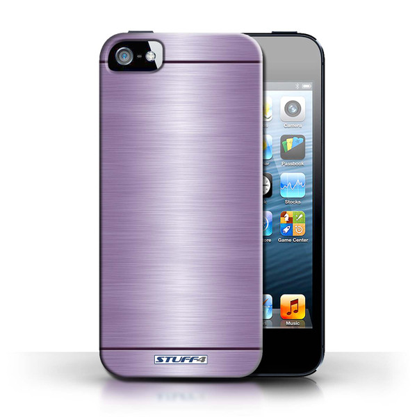 Protective Hard Back Case for Apple iPhone 5/5S / Brushed Metal Effect/Pattern Collection / Purple