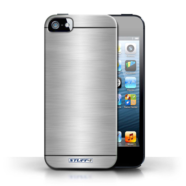 Protective Hard Back Case for Apple iPhone 5/5S / Brushed Metal Effect/Pattern Collection / Silver