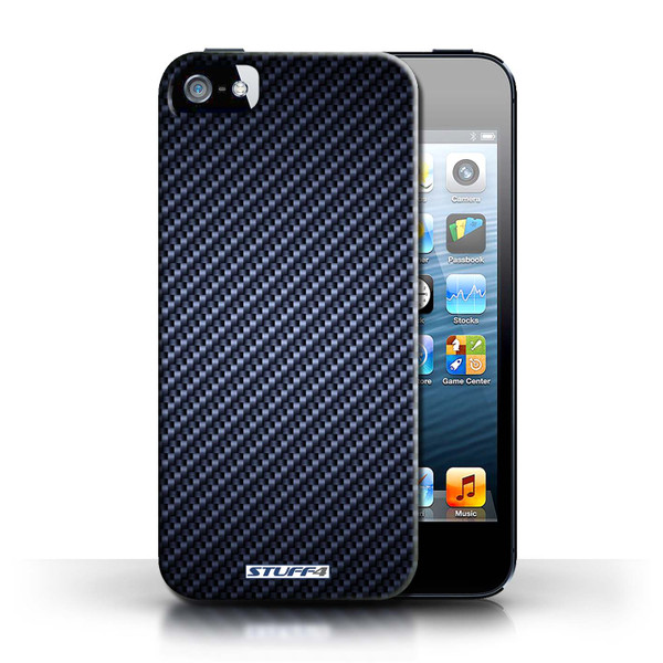 Protective Hard Back Case for Apple iPhone 5/5S / Carbon Fibre Effect/Pattern Collection / Blue