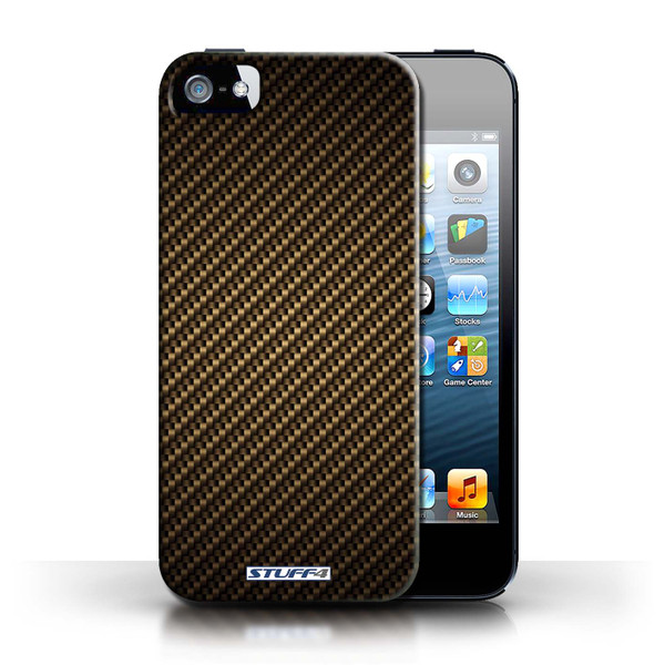Protective Hard Back Case for Apple iPhone 5/5S / Carbon Fibre Effect/Pattern Collection / Gold
