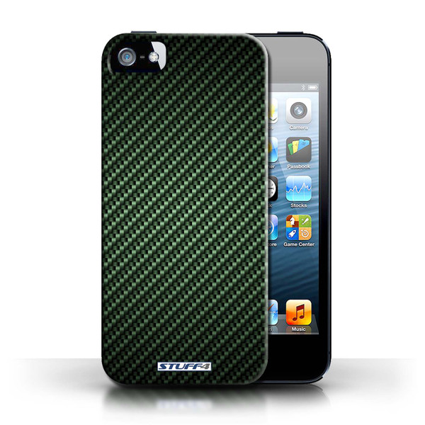 Protective Hard Back Case for Apple iPhone 5/5S / Carbon Fibre Effect/Pattern Collection / Green