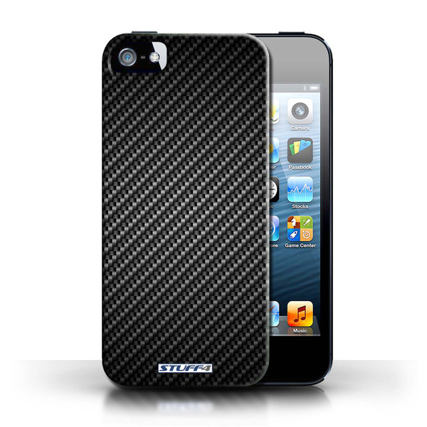 Protective Hard Back Case for Apple iPhone 5/5S / Carbon Fibre Effect/Pattern Collection / Grey