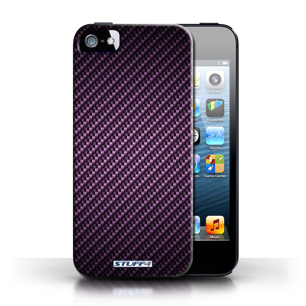 Protective Hard Back Case for Apple iPhone 5/5S / Carbon Fibre Effect/Pattern Collection / Purple