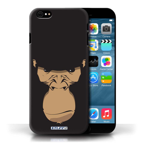 Protective Hard Back Case for Apple iPhone 6 / Animal Faces Collection / Gorilla/Chimp/Monkey