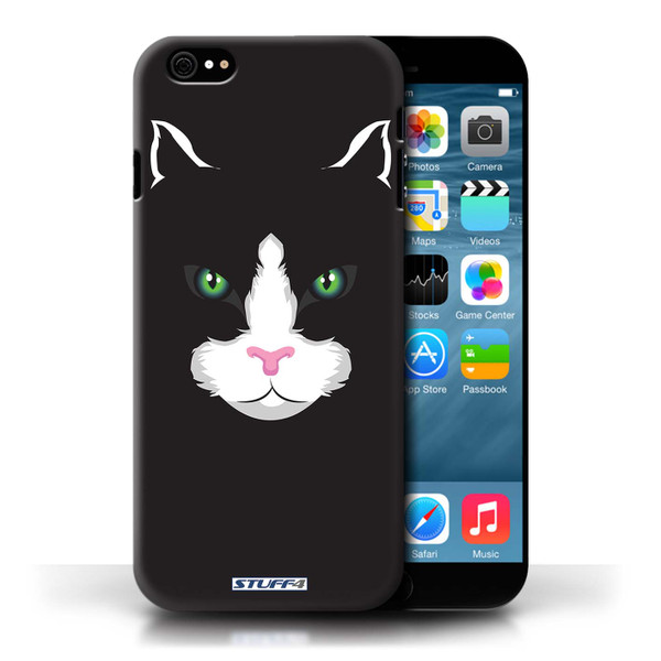 Protective Hard Back Case for Apple iPhone 6/6S / Animal Faces Collection / Black Cat