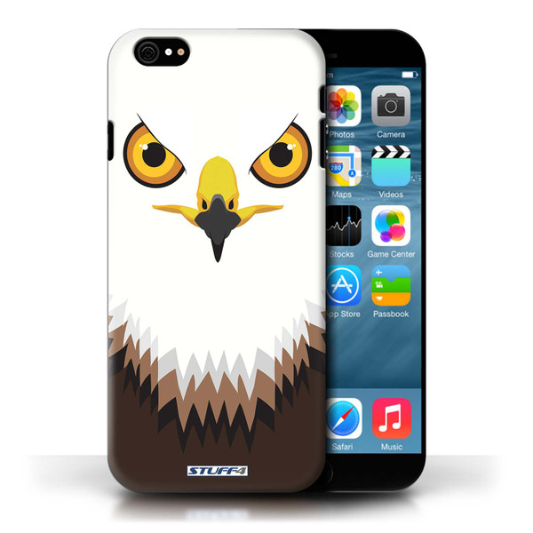 Protective Hard Back Case for Apple iPhone 6/6S / Animal Faces Collection / Hawk/Eagle