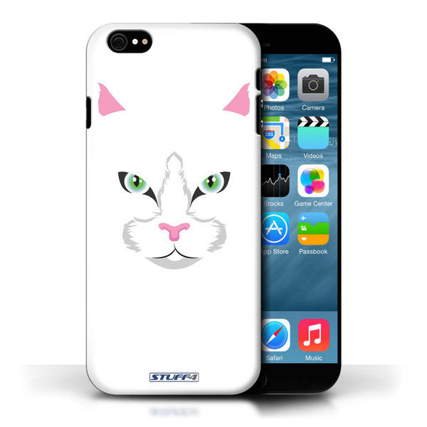 Protective Hard Back Case for Apple iPhone 6/6S / Animal Faces Collection / White Cat