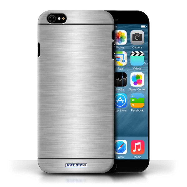 Protective Hard Back Case for Apple iPhone 6/6S / Brushed Metal Effect/Pattern Collection / Silver