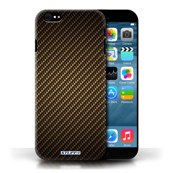 Protective Hard Back Case for Apple iPhone 6/6S / Carbon Fibre Effect/Pattern Collection / Gold