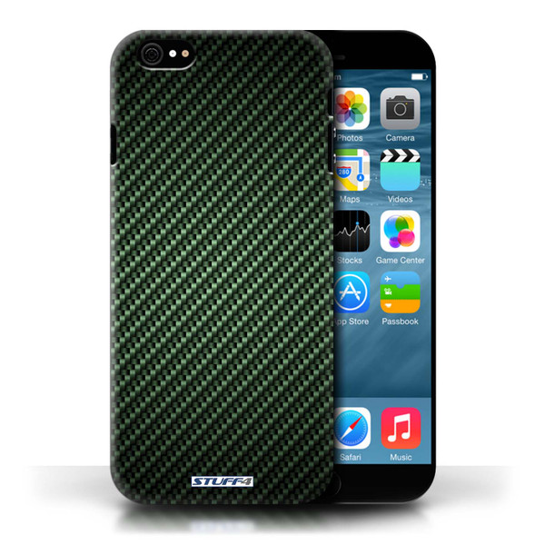 Protective Hard Back Case for Apple iPhone 6/6S / Carbon Fibre Effect/Pattern Collection / Green