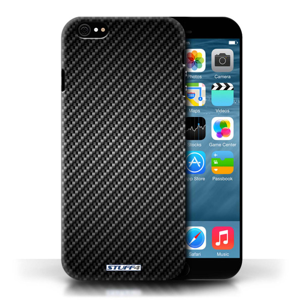 Protective Hard Back Case for Apple iPhone 6/6S / Carbon Fibre Effect/Pattern Collection / Grey