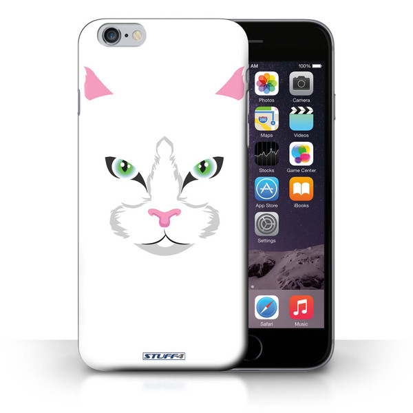 Protective Hard Back Case for iPhone 6+/Plus 5.5' / Animal Faces Collection / White Cat
