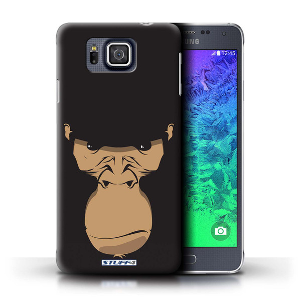 Protective Hard Back Case for Samsung Galaxy Alpha / Animal Faces Collection / Gorilla/Chimp/Monkey