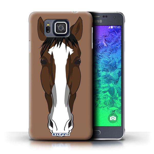 Protective Hard Back Case for Samsung Galaxy Alpha / Animal Faces Collection / Horse