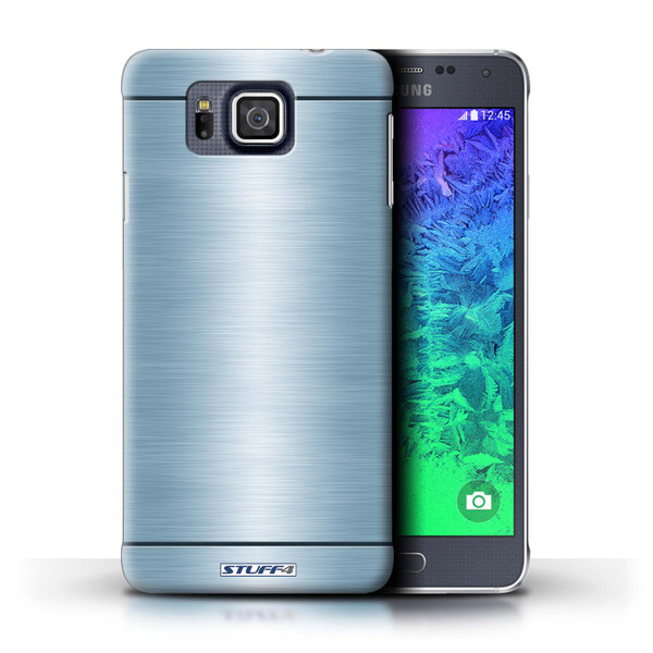 Protective Hard Back Case for Samsung Galaxy Alpha / Brushed Metal Effect/Pattern Collection / Blue
