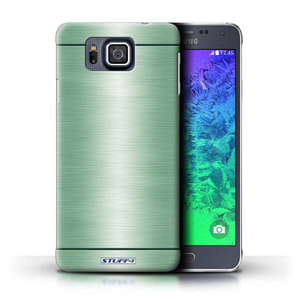 Protective Hard Back Case for Samsung Galaxy Alpha / Brushed Metal Effect/Pattern Collection / Green