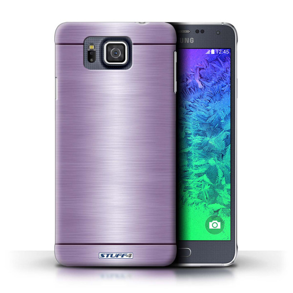 Protective Hard Back Case for Samsung Galaxy Alpha / Brushed Metal Effect/Pattern Collection / Purple