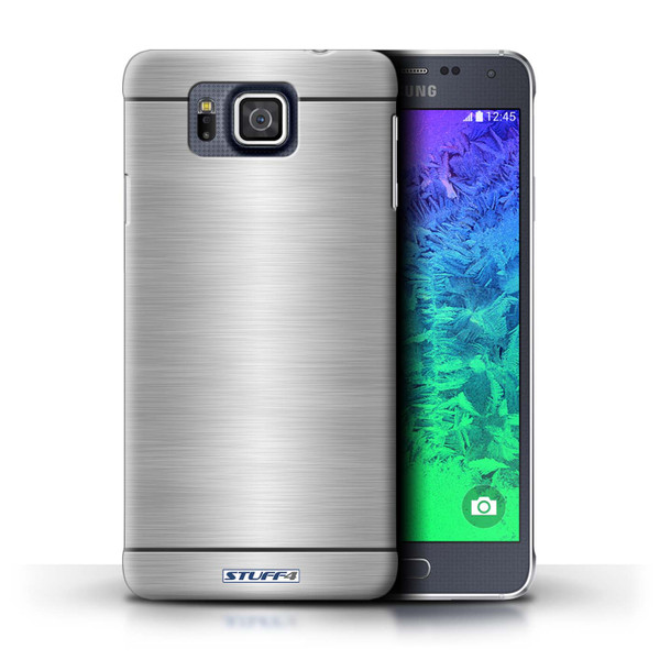 Protective Hard Back Case for Samsung Galaxy Alpha / Brushed Metal Effect/Pattern Collection / Silver