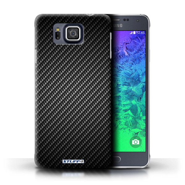 Protective Hard Back Case for Samsung Galaxy Alpha / Carbon Fibre Effect/Pattern Collection / Grey