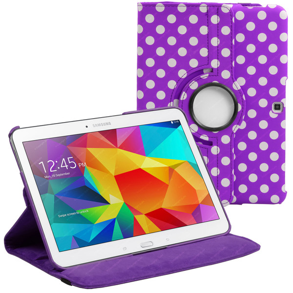 Purple & White Polka Dot PU Leather 360 Rotating Case for Samsung Galaxy Tab 4 Nook 10.1 (T530)