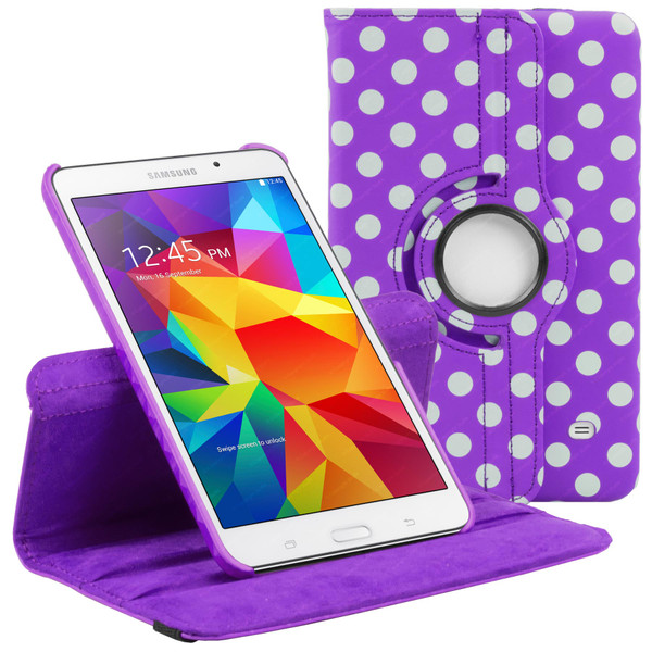 Purple & White Polka Dot PU Leather 360 Rotating Case for Samsung Galaxy Tab 4 Nook 7.0 (T230)