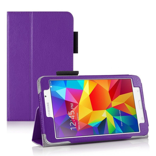 "Purple Folding Smart Leather Stand Case for Samsung Galaxy Tab 4 7.0 7"" Inch T230 T231"