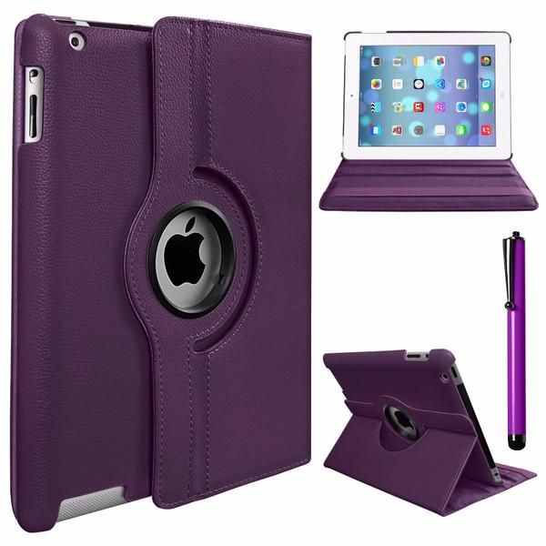 Purple PU Leather 360 Rotating Case for iPad 2/3/4
