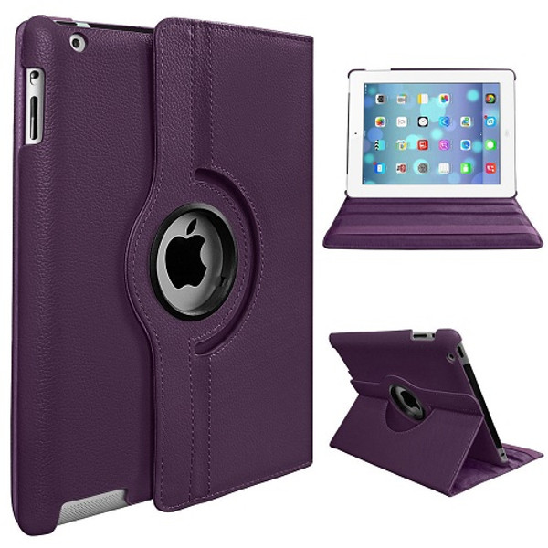 Purple PU Leather 360 Rotating Case for iPad Mini