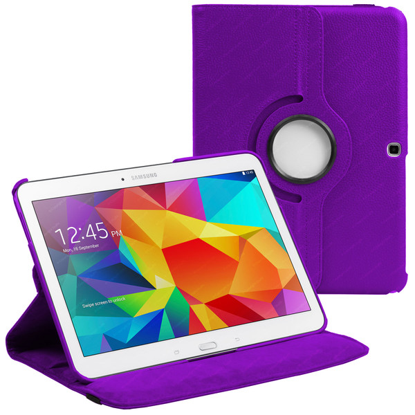 Purple PU Leather 360 Rotating Case for Samsung Galaxy Tab 4 Nook 10.1 (T530)