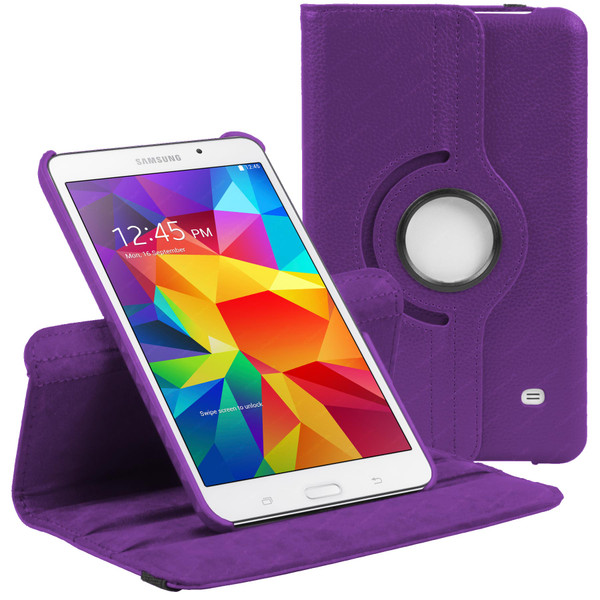 Purple PU Leather 360 Rotating Case for Samsung Galaxy Tab 4 Nook 7.0 (T230)