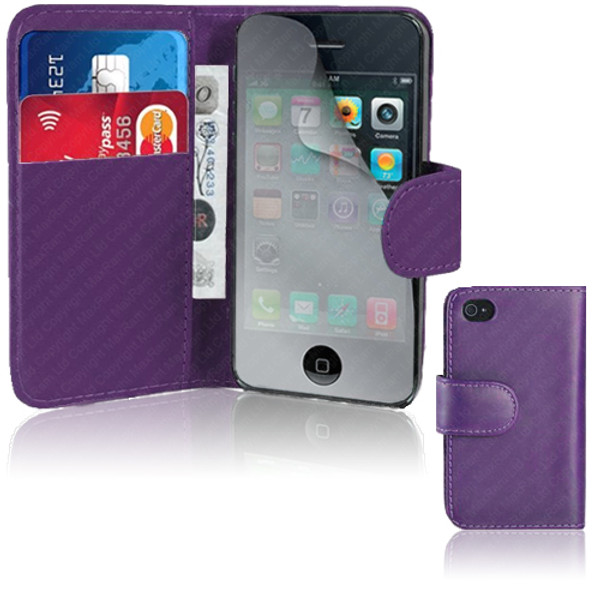 Purple PU Leather Wallet with Card Holder for iPhone 5