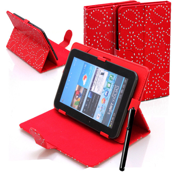 Red  Bling Universal Leather Stand Folding Folio Case for Nook HD 7 inch