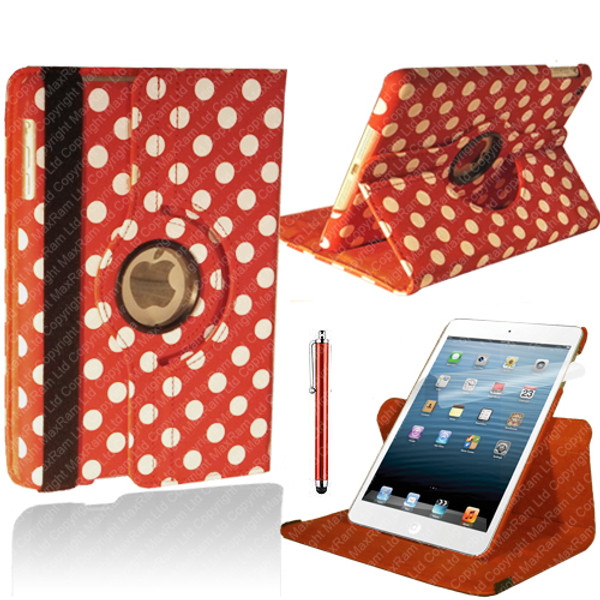 Red & White Polkadot PU Leather 360 Rotating Case for iPad Air 2