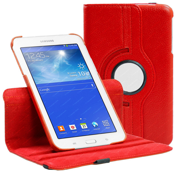 Red PU Leather 360 Rotating Case for Samsung Galaxy Tab 3 7.0 LITE (T110/T111)