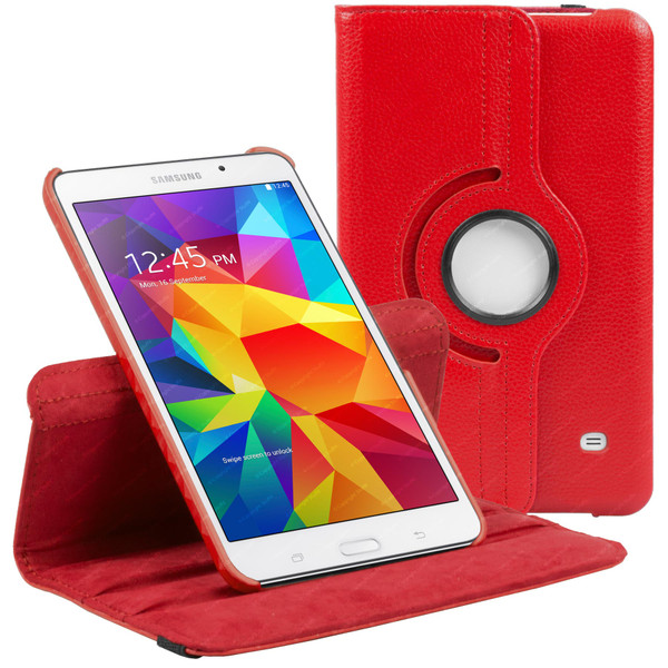 Red PU Leather 360 Rotating Case for Samsung Galaxy Tab 4 Nook 7.0 (T230)