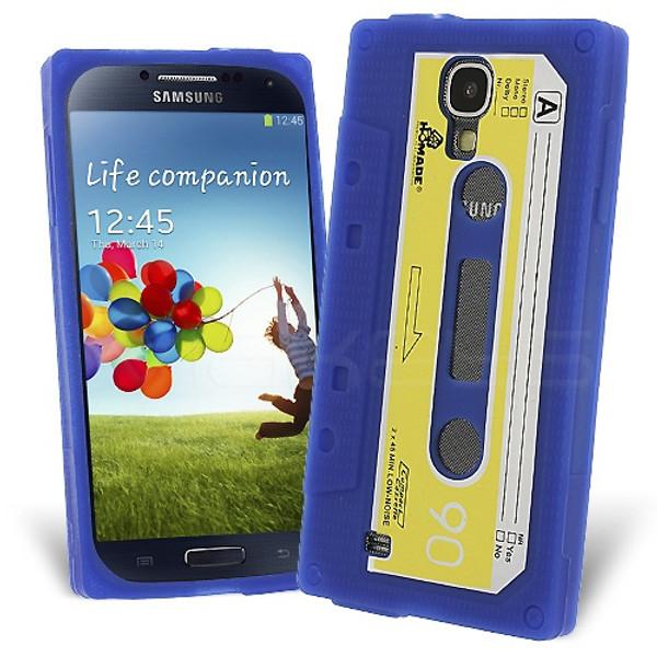 Retro Cassette Case Cover for Samsung Galaxy S4 - Blue